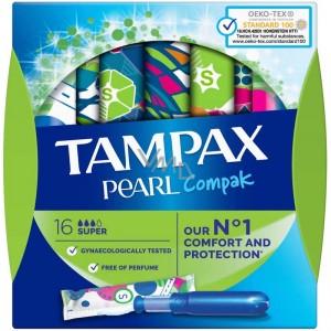 Tampax Compak Pearl Tampón 100% Algodón 16 unidades